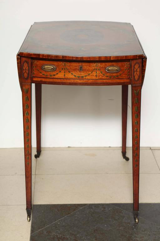 George III (Adam) Satinwood Paint Decorated Pembroke Table