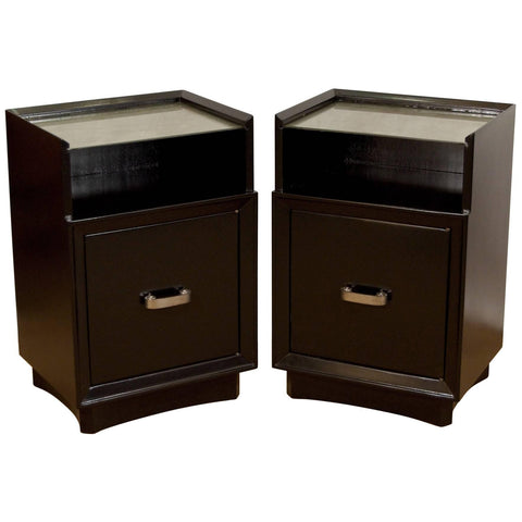 Art Deco Nightstands with Silver Leafed Glass and Pulls by Berkey & Gay