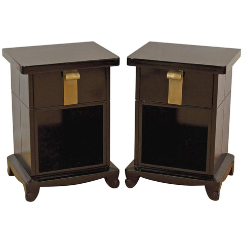 Art Deco Nightstands in Black Lacquer by John Stuart