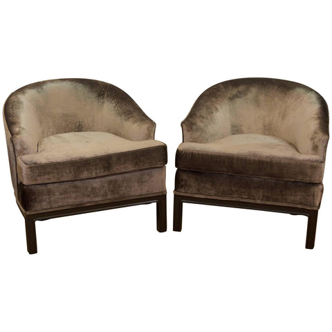 SOLD   4/11/19   Velvet Upholstered Mid-Century Modern Club Chairs