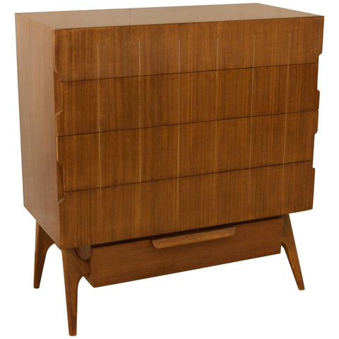SOLD   1/??/19    Walnut Chest of Drawers with Brass Inlay