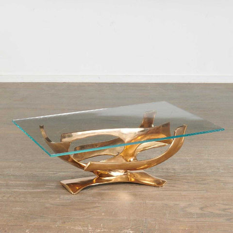 Gilt Bronze Coffee Table Designed by Fred Brouard