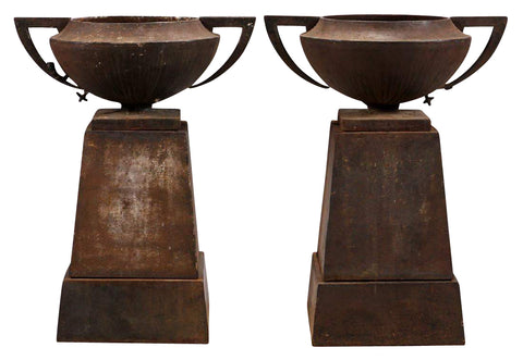 A Pair of Egyptian Revival American Cast Iron Garden Urns by Kramer Brothers Foundry