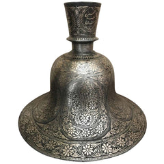 Indian Mughal Silver Inlaid Bidri Hookah Base