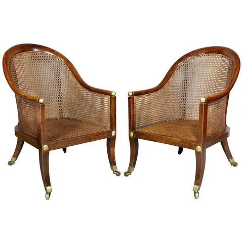 Pair of Regency Faux Rosewood Cane Tub Chairs