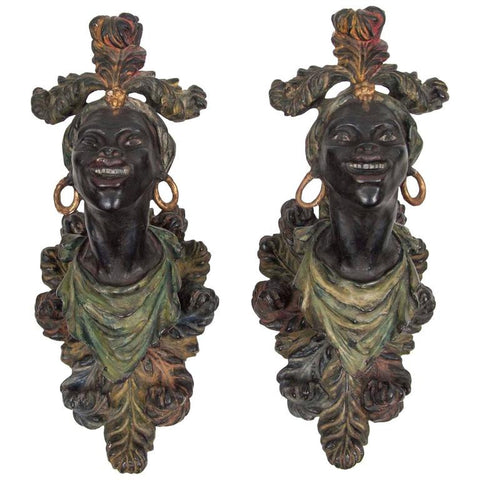 Pair of Venetian Wall Brackets in Blackamoor Figure Form