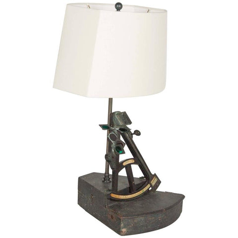 Early 19th Century English Maritime Octant now as Table Lamp.