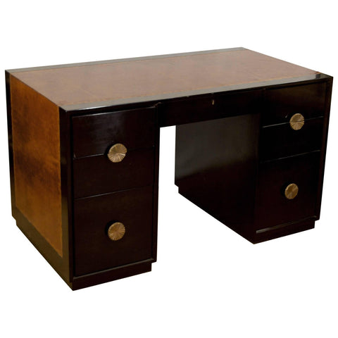 Leather Wrapped Ebonized Desk with Brass Pulls & Shelves by Charak Modern - Attributed to Tommi Parzinger