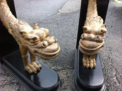 Pair Carved Giltwood Dragons