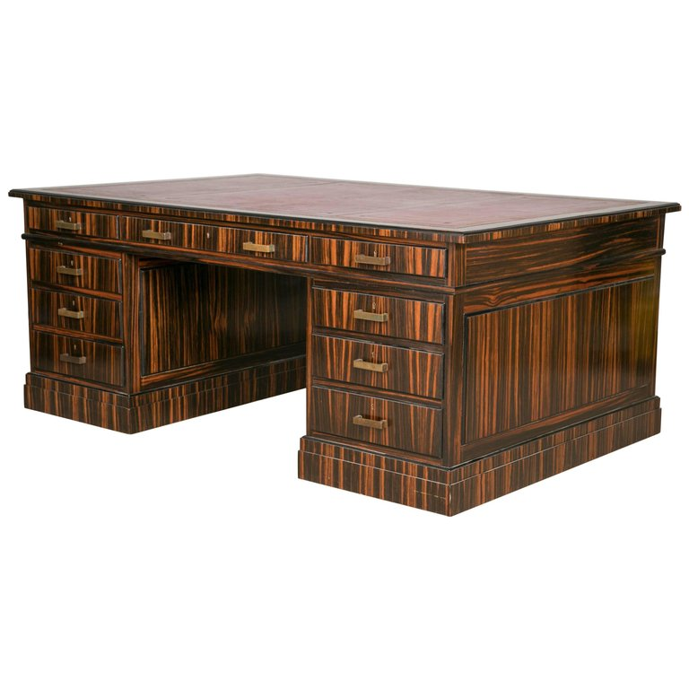 Macassar Ebony Pedestal Desk By Waring U0026 Gillow
