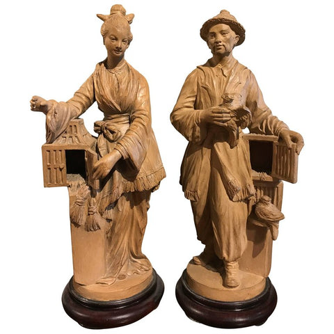French Chinoiserie Terracotta Figures of Bird Sellers