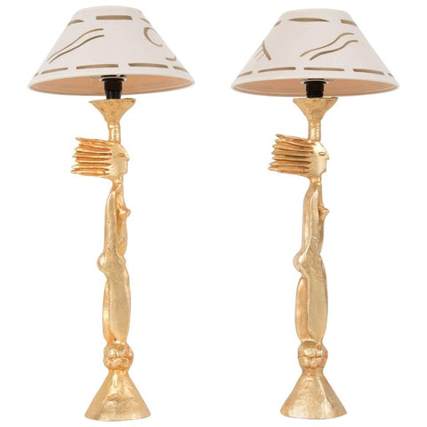 A Pair of Gold Plated Bronze Table Lamps by Pierre Casenove with Original Shade