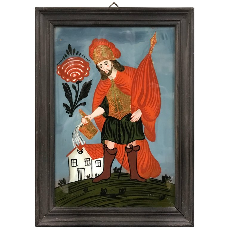 Reverse Glass Painting of Saint Florian, Patron Saint of Firefighters