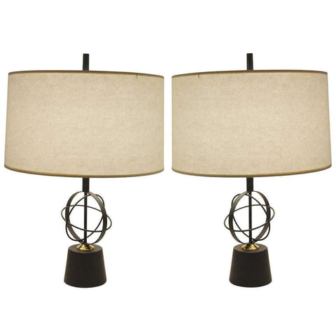 Astrolabe Form Mid Century Table Lamps