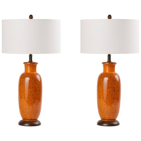 Pair of Mid-Century Modern Pottery Lamps in Burnt Orange
