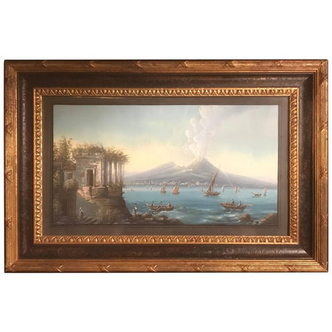 Italian Gouache of Mount Vesuvius and the Bay of Naples