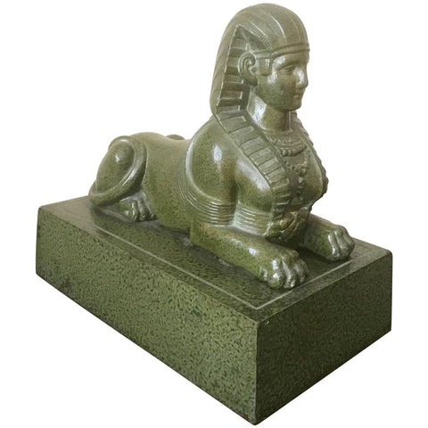Grand Tour Egyptian Serpentine Sphinx