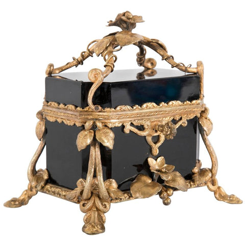 19th Century Black Opaline Glass Box with Key