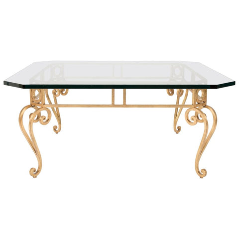 Hollywood Regency Mid Century Modern Gilt Iron Glass Top Coffee Table