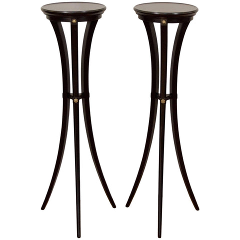Black Lacquer and Gilt Plant Stands