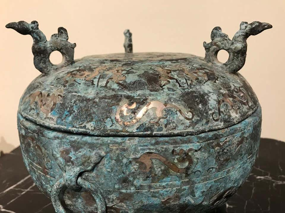 Chinese Bronze Archaistic Lidded Vessel with Silver Inlay and Bird Handles