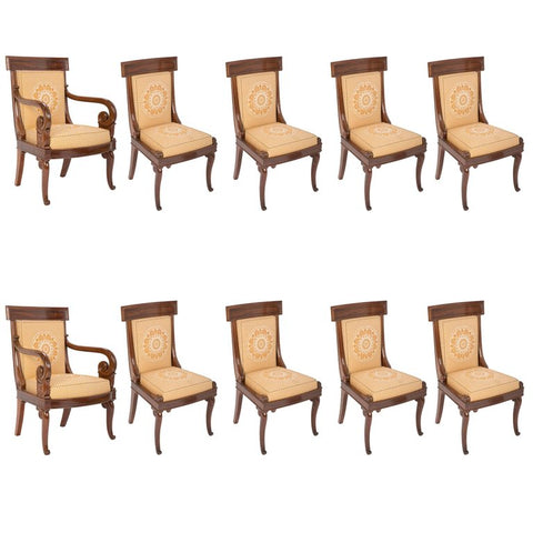 Set of Ten Charles X Dining Chairs Made by Jean-Jacques Werner