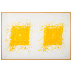 """Generated"" Composed of Two Lithographs by Sam Francis Framed in Maple Frame."