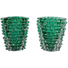 Pair of Murano Green Iridescent Glass Vases Signed Pino Signoretto
