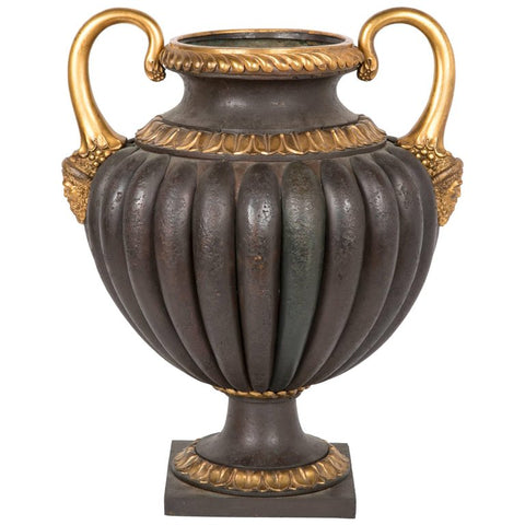 An Italian Tole Urn with Parcel Gilt Bronze and Copper Mounts