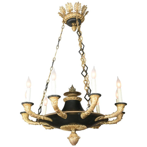 D'ore Gilt and Patinated Bronze 9 Light Chandelier