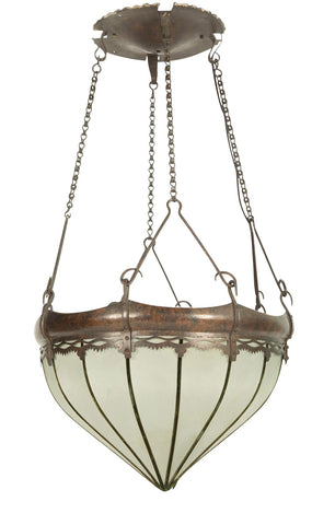 A Hammered Copper Arts And Crafts Light Fixture