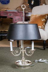 French Silver Plated Bronze Bouillotte Lamp