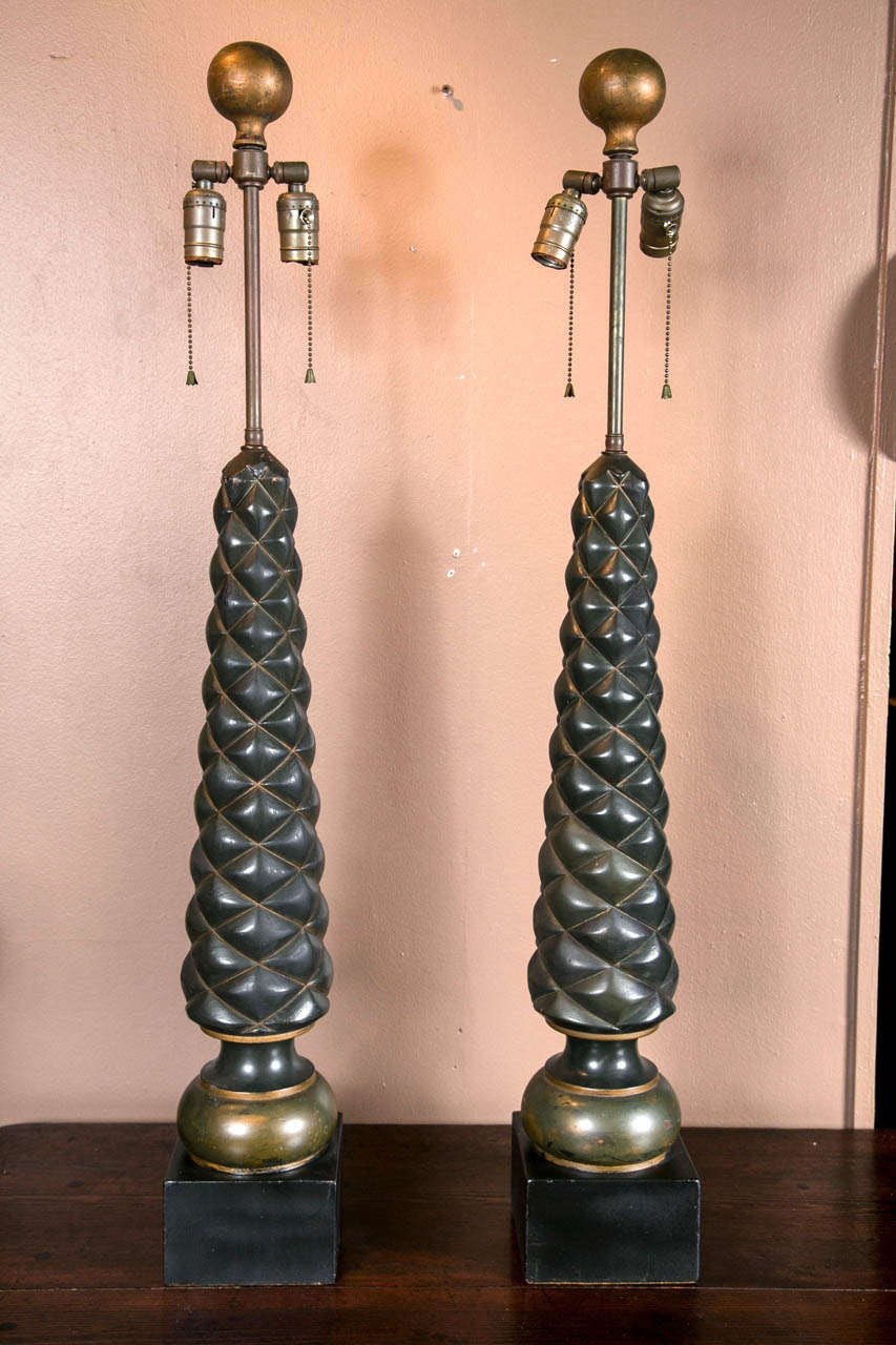 Pair of Quilted Form Lamps