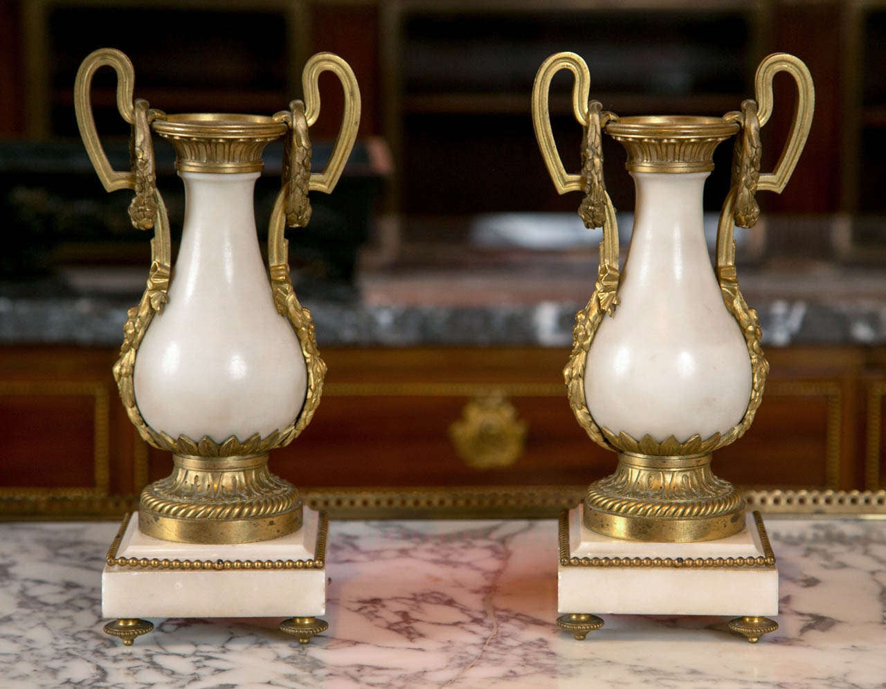 French Marble and Ormolu Urns