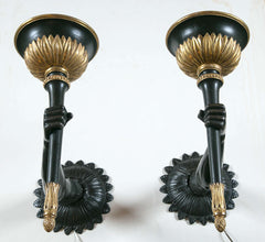 20th Century Venetian Style Bronze and Parcel-Gilt Wood Arm Sconces