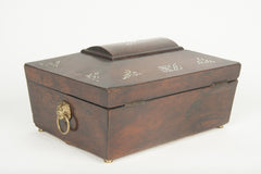 An English Regency Sarcophagus Form Box with Mother of Pearl