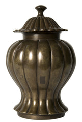 A Chinese Bronze Baluster form Vase and Cover