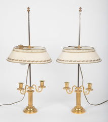 A pair of French  Louis XVI Bouilliotte lamps