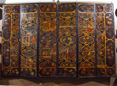 Chinoiserie Painted Leather Screen