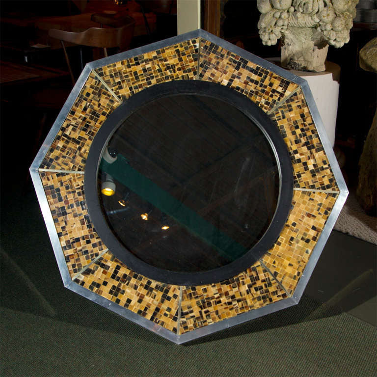 Bone & Tortoise Shell Octagonal Mirrors by Anthony Redmile