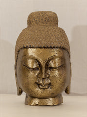 Carved Stone Gilt Buddha Head