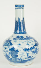 A 19th Century Chinese Blue and White Bottle Vase