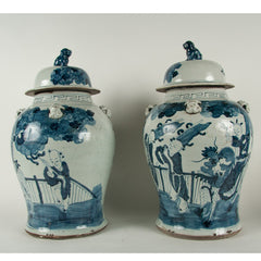 A Pair of Chinese Transitional Blue and White Covered Ginger Jars