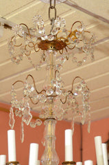 Louis XV - XVI Crystal and Bronze Chandelier