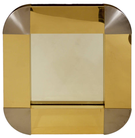 Brass and Steel Mirror by Curtis Jere