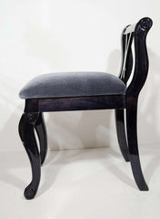 Art Deco Vanity Stool in Ebonized Walnut and Mohair