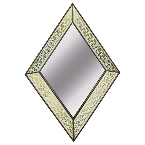 Eglomise Art Deco Diamond Form Mirror