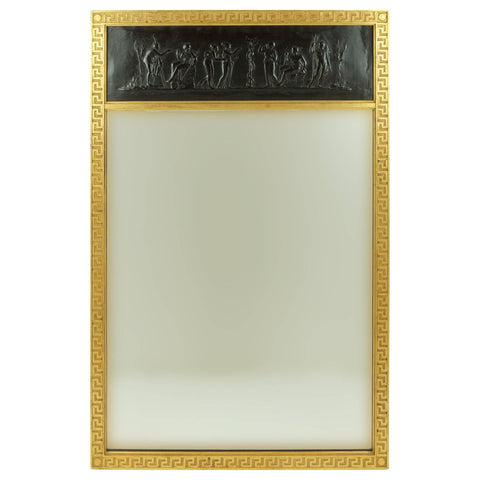 Trumeau Mirror with Gilt Greek Key Frame