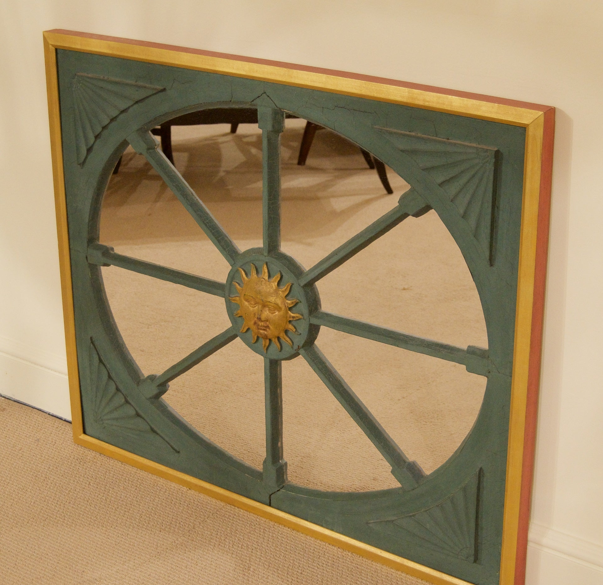 Antique French Sun Wood Frame with Later Additions & Mirror Plate