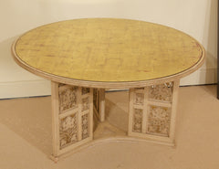 Jansen Style Cerused Oak & Eglomised Glass Top Coffee Table